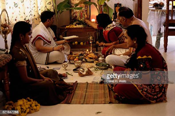 Hindus Pray Before a Festival for Ganesha