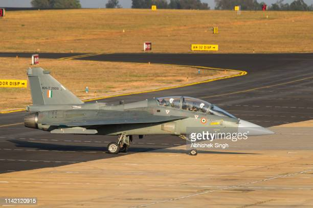 Hindustan Aeronautics Limited Light Combat Aircraft also known as Tejas during Aero India air show 2019 in Bangalore
