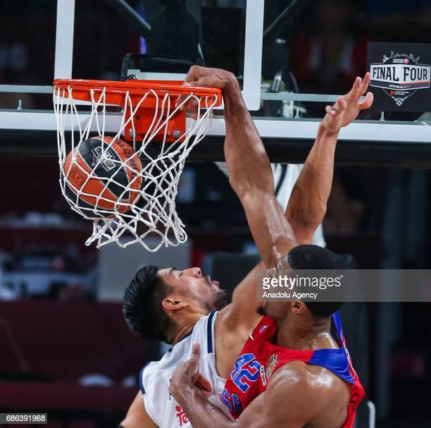 Hines Kyle of CSKA Moscow in action against Gustavo Ayon of Real Madrid during the Turkish Airlines Euroleague Final Four basketball consolation...