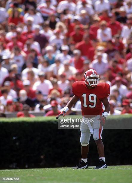 Hines Ward of the Georgia Bulldogs lines up against the Florida Gators on September 2 1995 at Sanford Stadium in Athens Georgia The Bulldogs defeated...