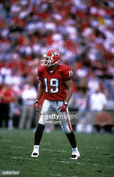 Hines Ward of the Georgia Bulldogs lines up during the game against the Kentucky Wildcats on October 27 1997 at Sanford Stadium in Athens Georgia The...