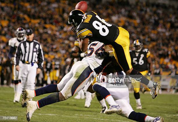 Hines Ward of the Pittsburgh Steelers fumbles the ball as he attempts to get into the endzone against Al Wilson of the Denver Broncos on November 5...