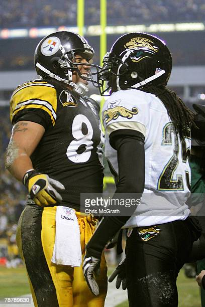 Hines Ward of the Pittsburgh Steelers gets in the face of Reggie Nelson of the Jacksonville Jaguars in the fourth quarter of the AFC Wild Card game...