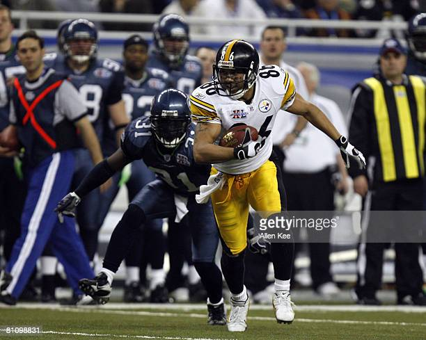 Hines Ward of the Pittsburgh Steelers in action during Super Bowl XL between the Pittsburgh Steelers and Seattle Seahawks at Ford Field in Detroit,...
