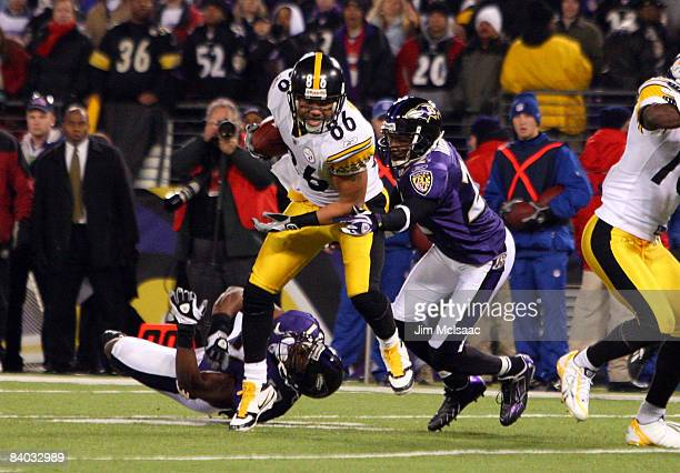 Hines Ward of the Pittsburgh Steelers runs the ball after a reception late in the game against the Baltimore Ravens on December 14 2008 at MT Bank...