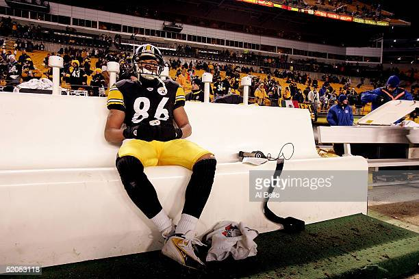 Hines Ward of the Pittsburgh Steelers sits on the sidelines during the final moments of the Steelers' 41-27 loss to the New England Patriots in the...