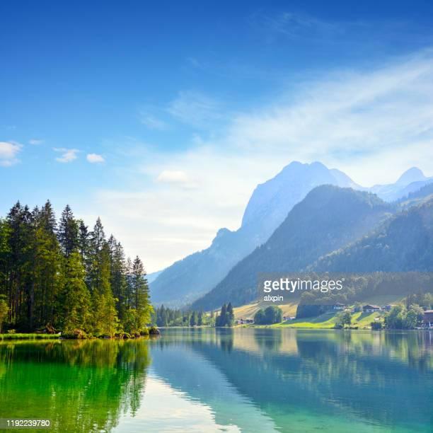 hintersee lake near ramsau, germany - oberbayern stock-fotos und bilder