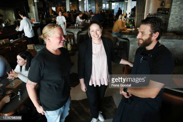 Hip Group general manager Natasha Parkinson Amano chief operating officer Jo Pearson and executive chef Andrew Hanson on the first day of opening...