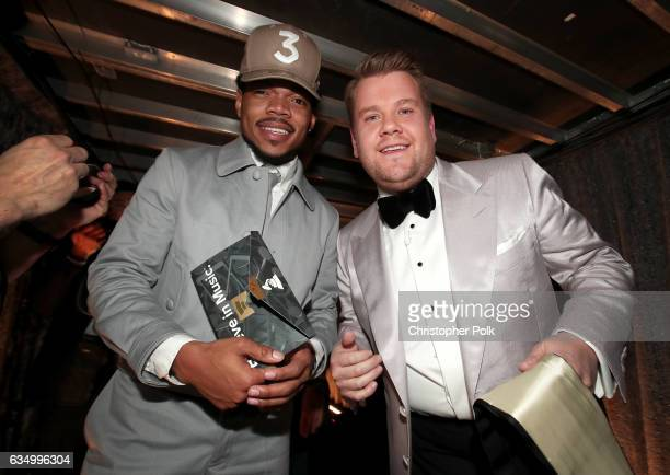Hip Hop Artist Chance The Rapper and GRAMMY Awards host James Corden attend The 59th GRAMMY Awards at STAPLES Center on February 12 2017 in Los...