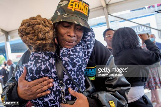 Hip Hop artist EPMD greets a friend as he attends the ground breaking ceremony for the future Universal Hip Hop Museum on May 20, 2021 in the Bronx,...