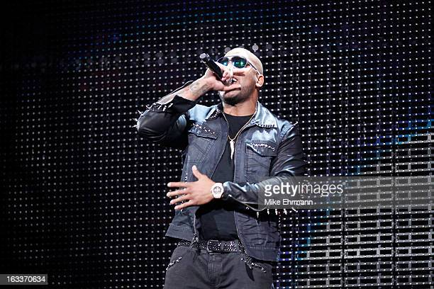 Hip Hop artist Flo Rida performs during the Sprite Slam Dunk Contest part of 2012 NBA All-Star Weekend at Amway Center on February 25, 2012 in...