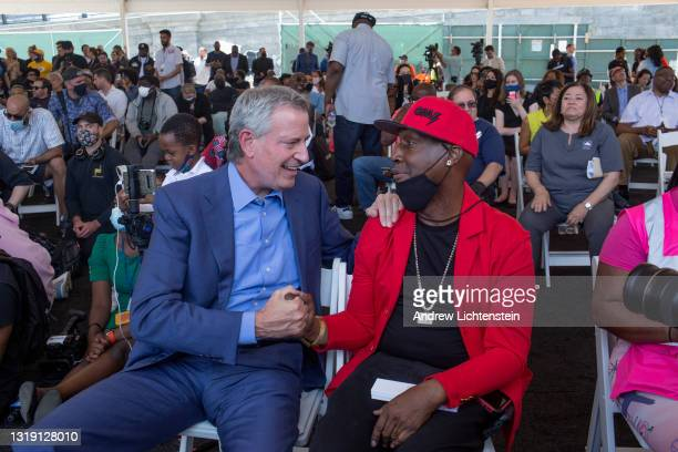 Hip Hop artist Grand Master Flash greets New York City Mayor Bill De Blasio as they both attend the ground breaking ceremony for the future Universal...
