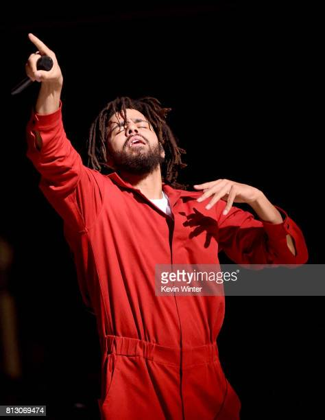 Hip hop artist J Cole performs at the Forum on July 11 2017 in Inglewood California