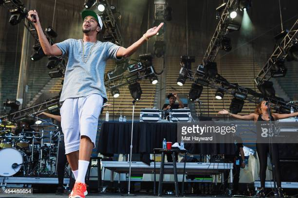 Hip hop artist J Cole performs on the main stage during the Bumbershoot Music and Arts Festival on September 1 2014 in Seattle Washington