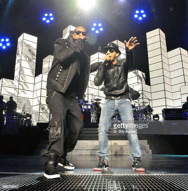 Hip hop artist JayZ and producer/rapper Swizz Beatz perform in concert at the Staples Center on March 26 2010 in Los Angeles California