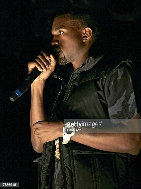 Hip Hop artist Kanye West speaks to the invited audience before his listening party on August 28 2007 at New World Stages in New York City