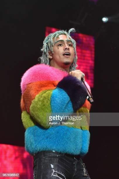 Hip Hop Artist Lil Pump performs on stage at Staples Center on June 23 2018 in Los Angeles California