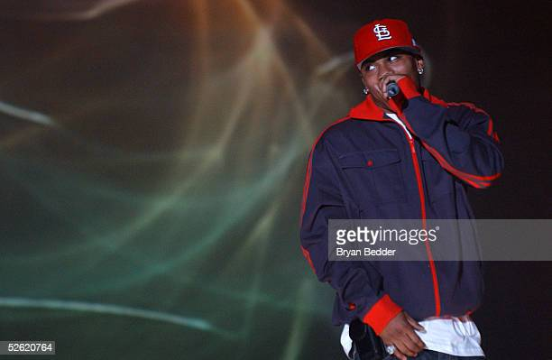 Hip hop artist Nelly performs on stage at BET's Up Front 2005 April 12 2005 in New York City