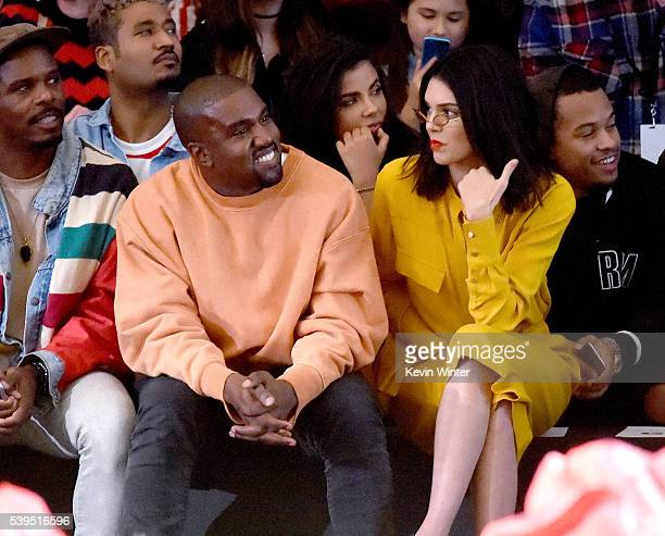 a87edd5ceca7 Hip Hop artist producer designer Kanye West and model Kendall Jenner attend  Tyler the Creator s fashion