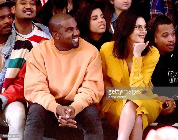 Hip Hop artist producer designer Kanye West and model Kendall Jenner attend Tyler the Creator's fashion show for Made LA at LA Live on June 11 2016...