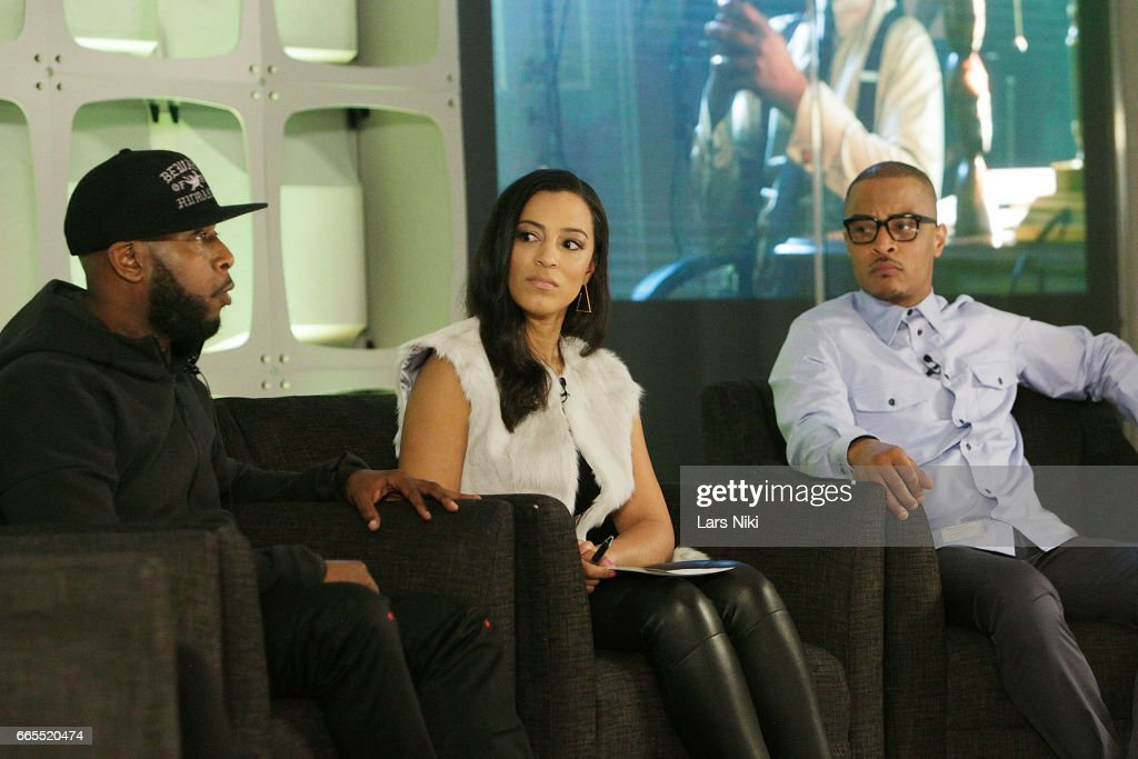 Hip Hop Artist Talib Kweli, Commentator Angela Rye and Musician T.I. attend the BET Music Presents: Us Or Else panel discussion at the Viacom White Box Hall on April 6, 2017 in New York City.