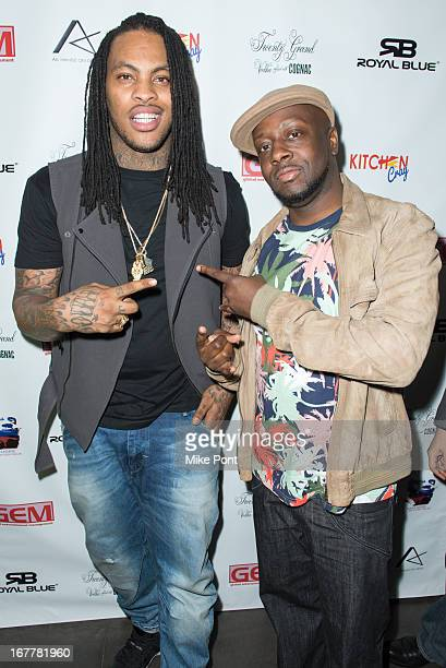 Hip Hop Artist Waka Flocka Flame and Recording Artist Wyclef Jean attends the April Showers Mixtape Listening at Trump SoHo on April 29 2013 in New...