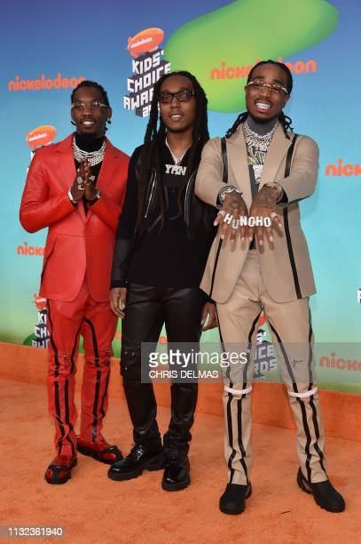 Hip Hop Artists Takeoff Offset and Quavo from Migos arrive for the 32nd Annual Nickelodeon Kids' Choice Awards at the USC Galen Center on March 23...