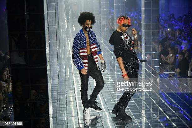 US hip hop dancers Ayleo Bowles and Mateo Bowles commonly known as Ayo Teo performs during the presentation of the Philipp Plein fashion show as part...