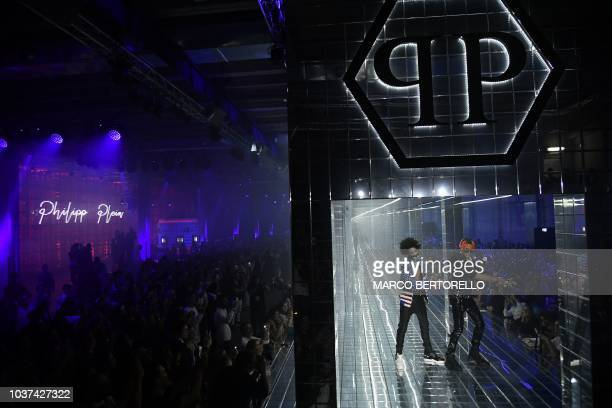 US hip hop dancers Ayleo Bowles and Mateo Bowles commonly known as Ayo Teo perform during the presentation of the Philipp Plein fashion show as part...