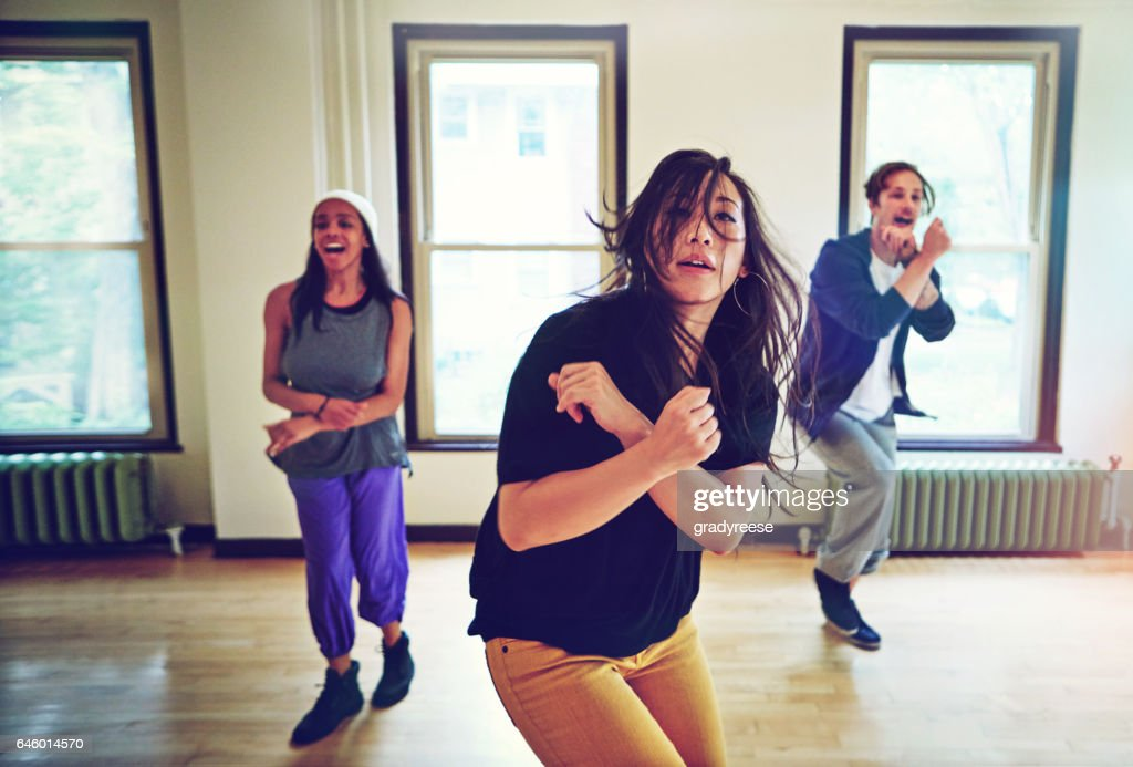 Hip hop dancers doing what they so best : Stock Photo