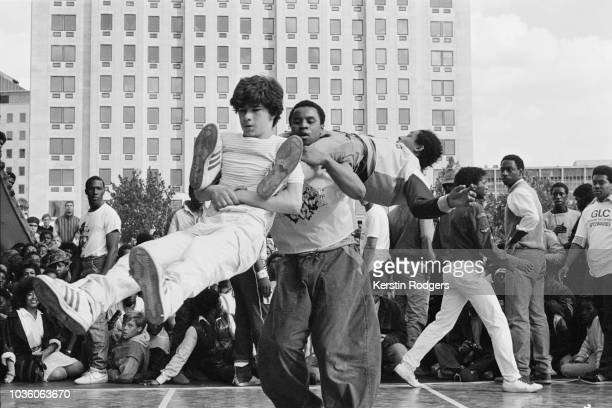 Hip hop dancers performing at the 'Hip Hop Jam' a free festival held by the GLC on the South Bank London 9th September 1984