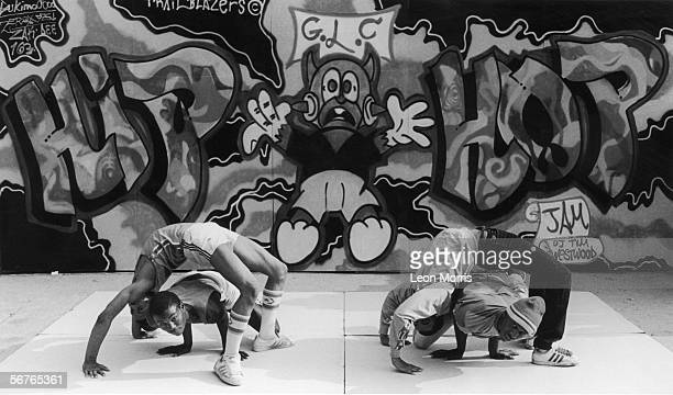 Hip hop dancers performing during the GLC Hip Hop Jam, a break dance festival organised by the Greater London Council at the Southbank Centre,...