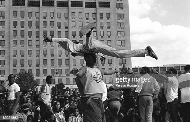 Hip hop dancers performing during the Hip Hop Jam a break dance festival organised by the Greater London Council at the Southbank Centre in London...