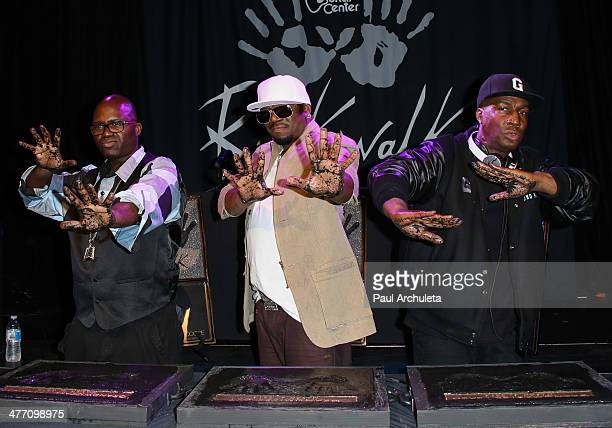 Hip Hop DJ's Grandwizzard Theodore Grandmixer DXT and Grandmaster Flash attend the DJ icons induction Into Guitar Center's Hollywood RockWalk at...