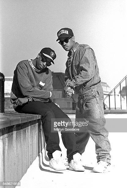 Hip hop duo Gang Starr portrait London United Kingdom 1990 MC Guru and DJ Premier