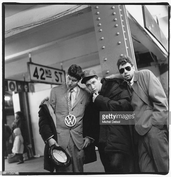 Hip hop group The Beastie Boys at West 42nd street/Times Square subway station New York New York November 27 1986 Left to right Michael Diamond Adam...