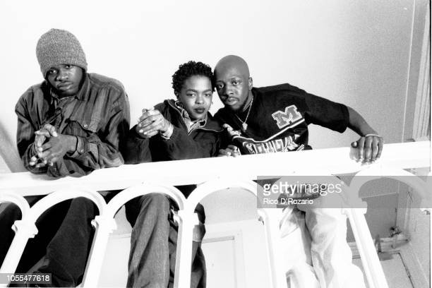 Hip Hop group The Fugees portrait backstage Paradiso Amsterdam Netherlands 1994 LR Wyclef Jean Lauryn Hill Pras Michel