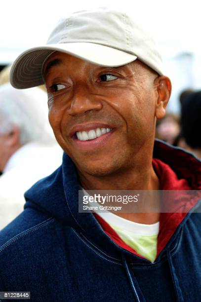 Hip hop mogul Russell Simmons attends the Annual Hamptons Magazine Memorial Day Celebration with Cover Star Kim Cattrall on May 24 2008 in...
