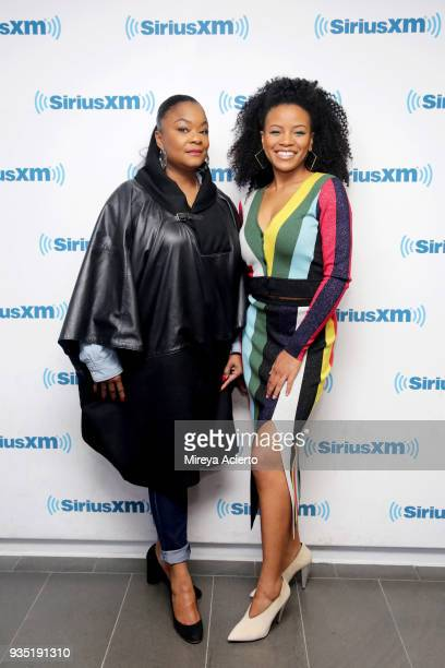 Hip Hop musician/rapper Roxanne Shante and actress Chante Adams visit SiriusXM Studios on March 20 2018 in New York City