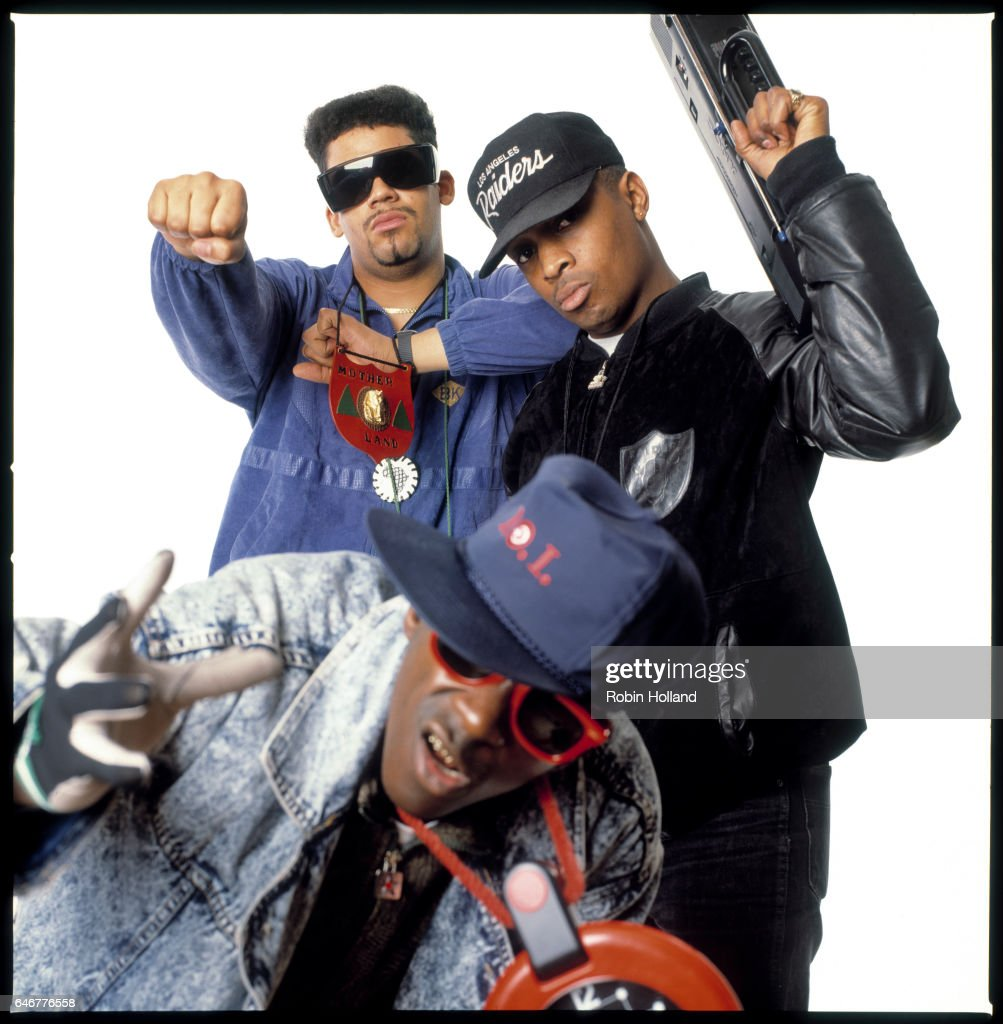 Flavor Flav, Terminator X and Chuck D, are photographed for Village Voice on February 7, 1989, in New York City.