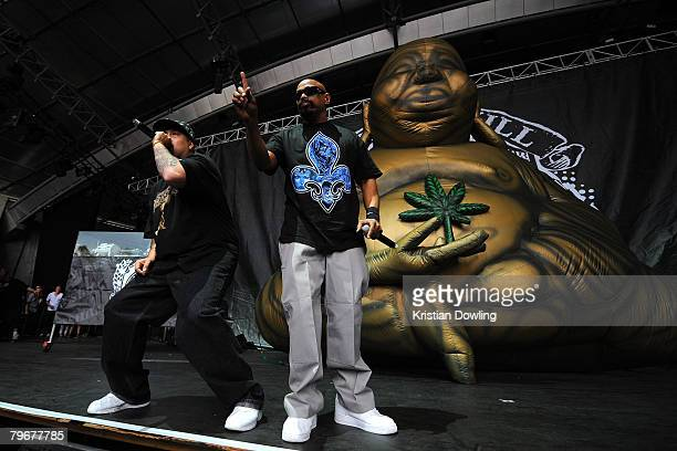 Hip Hop musicians Sen Dog and B Real of Cypress Hill performs on stage at the Melbourne stop of the Good Vibrations Festival 2008 at the Sidney Myer...