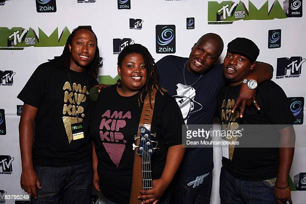 Hip Hop Pantsula, better known as HHP and his band pose backstage at the MTV Africa Music Awards 2008 at the Abuja Velodrome on November 22, 2008 in...