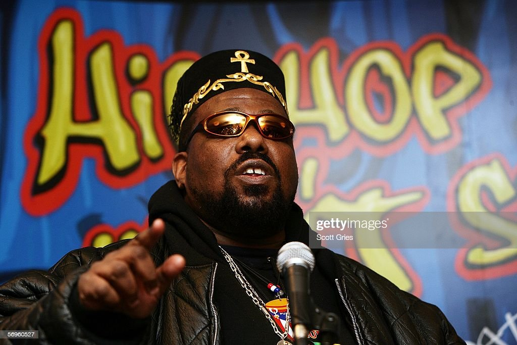 Hip hop pioneer Afrika Bambaataa speaks during a press conference to announce the launch of The Smithsonian's 'Hip-Hop Won't Stop: The Beat, The Rhymes, The Life' at the Hilton Hotel February 28, 2006 in New York City.