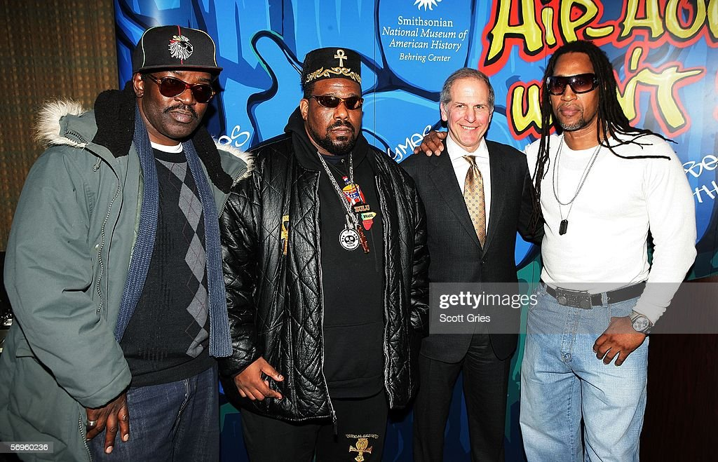 Hip hop pioneers Fab 5 Freddy, Afrika Bambaataa, Smithsonian American History Director Brent Glass, and Kool Herc pose for a photo during a press conference to announce the launch of The Smithsonian's 'Hip-Hop Won't Stop: The Beat, The Rhymes, The Life' at the Hilton Hotel February 28, 2006 in New York City.
