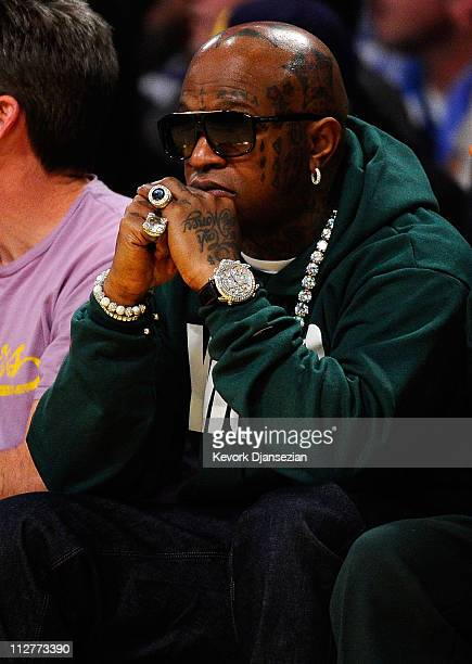 Hip Hop recording artist Birdman looks on during Game Two of the Western Conference Quarterfinals in the 2011 NBA Playoffs between the Los Angeles...