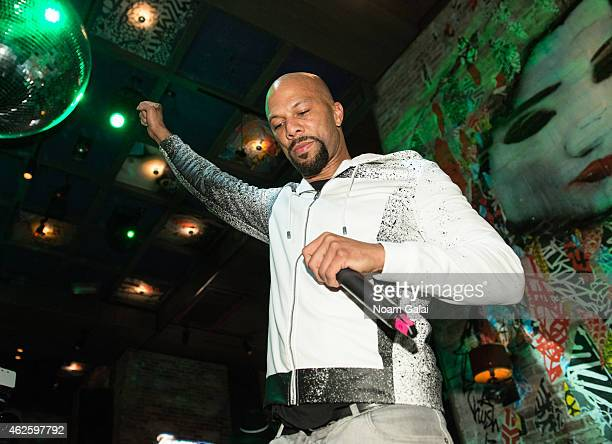 Hip hop recording artist Common performs during the Tanqueray Trunk Show launch event at TAO Downtown Lounge on January 31 2015 in New York City