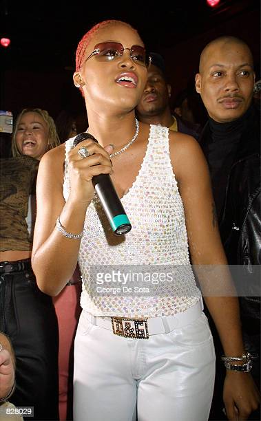"""Hip hop singer Eve performs March 6, 2001 at Chaos nightclub in New York City during a promotional event for her new album """"Scorpion."""""""