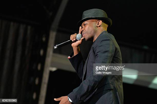 SA hip Hop StarTwoDee performs during the 7th annual Maftown Heights 2016 concert at the Mary Fritzgerald Square on November 25 2016 in Johannesburg...