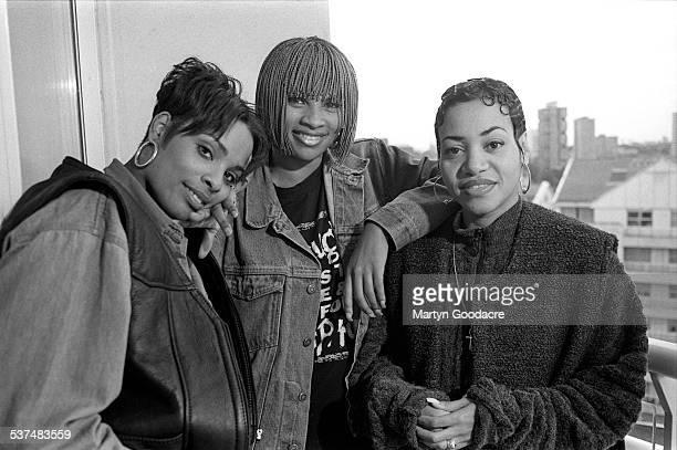US hip hop trio Salt N Pepa group portrait with DJ Spinderella London United Kingdom 1990 Deidra Roper Sandra Denton and Cheryl James