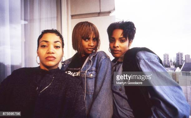 US hip hop trio Salt N Pepa group portrait with DJ Spinderella London United Kingdom 1990 Cheryl James Sandra Denton and Deidra Roper